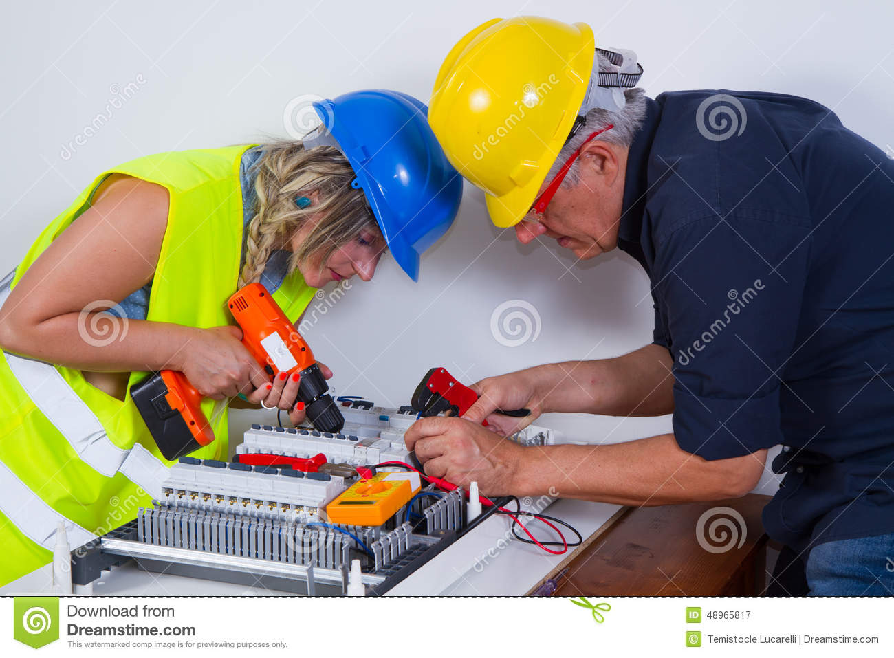 Download Electrician At Work Stock Image Of Industrial