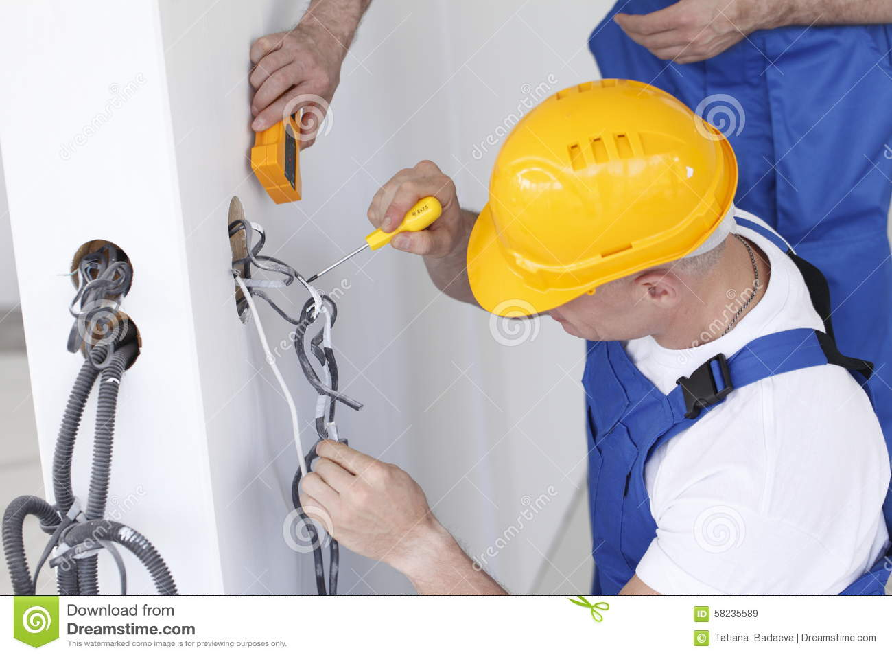 Electrician At Work Stock Image Of Workmen Contract 58235589 Wiring A New House Making
