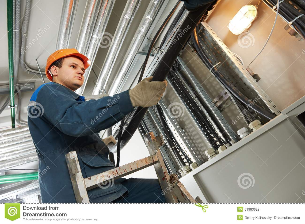 Electrician Worker At Cabling Stock Image Of Distribution Hotel Fuse Box Builder Engineer Installing Industrial Cable Into