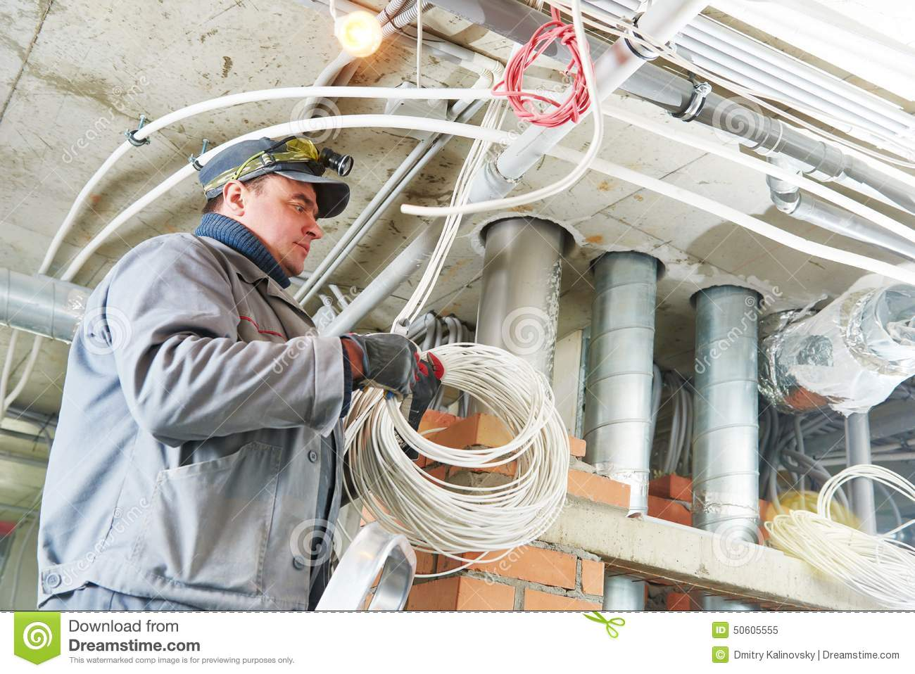 Electrician Worker Stock Photo