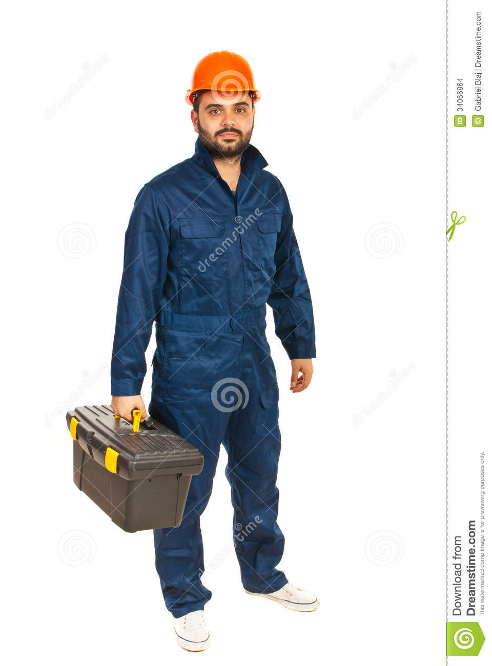 Electrician worker man holding tools box isolated on white background.