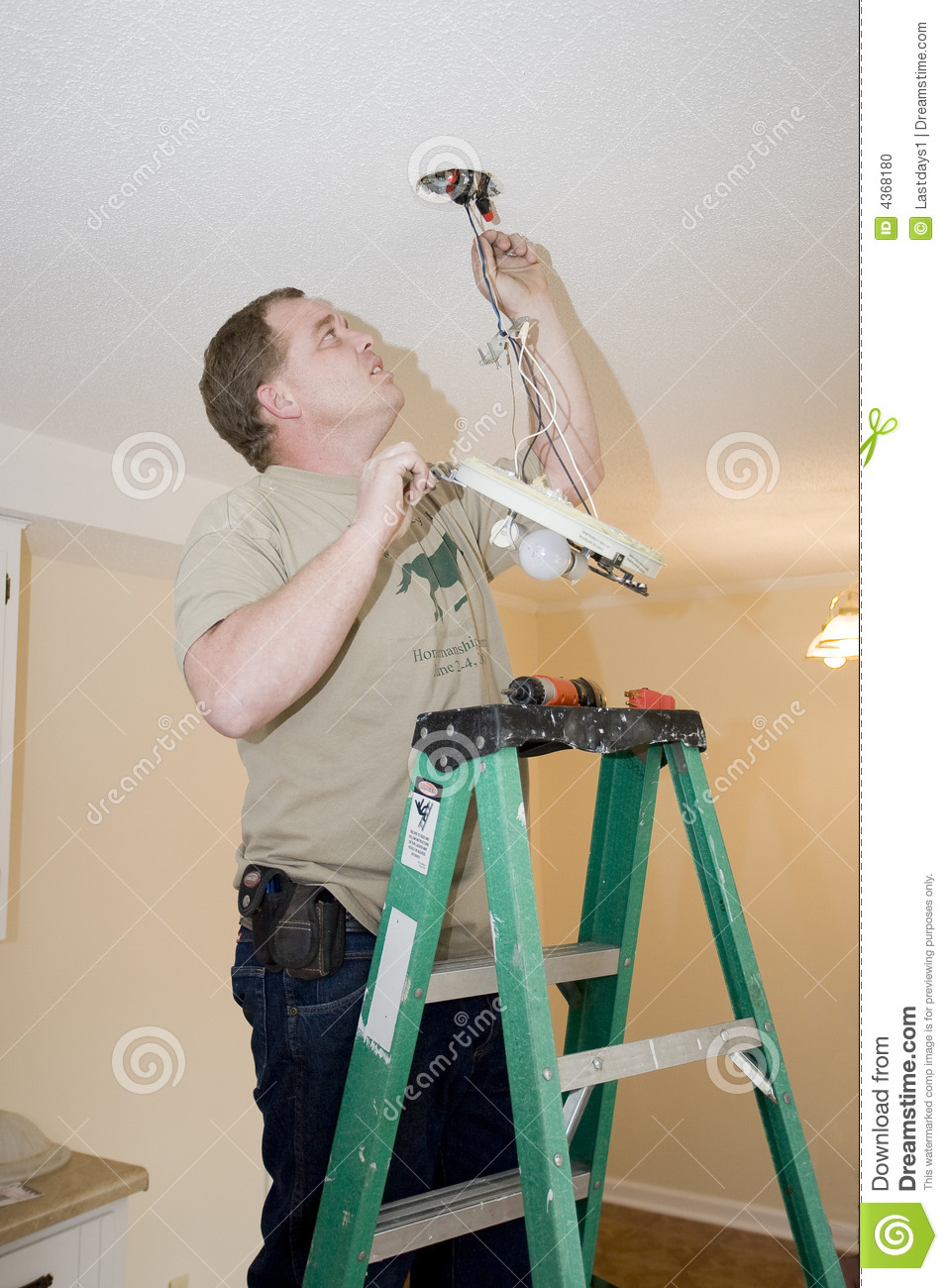 Electrician Working Stock Photo Image Of Reliable Repair 4368180 Tracing Wiring Behind Walls Problems With Ceiling Light Fixture