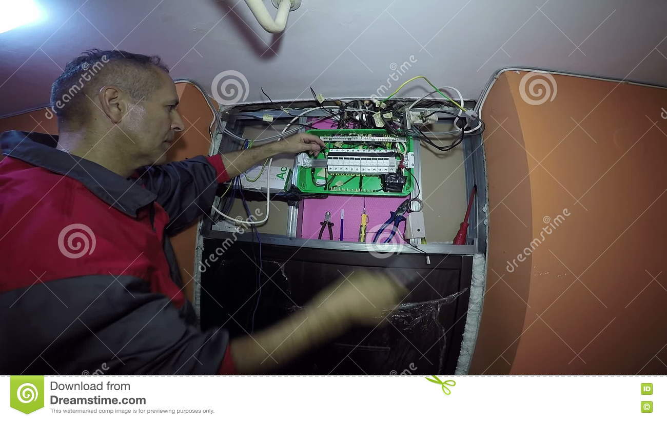 Electrician Working At Building Site Stock Video