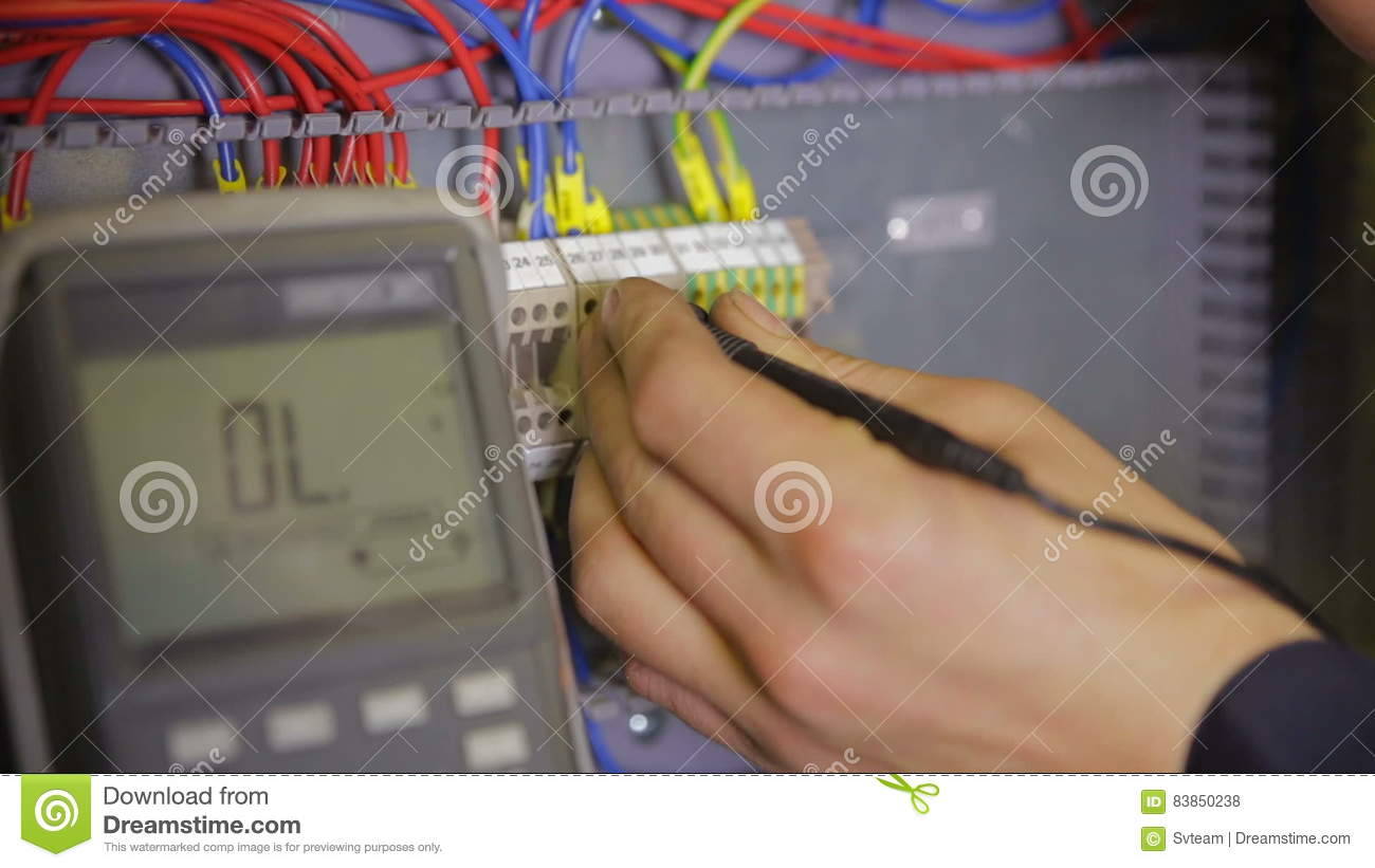 Electrician Working With Circuit Breaker Tester Multimeter At A Or Fuse Box Stock Footage Video Of Installing Repairing 83850238