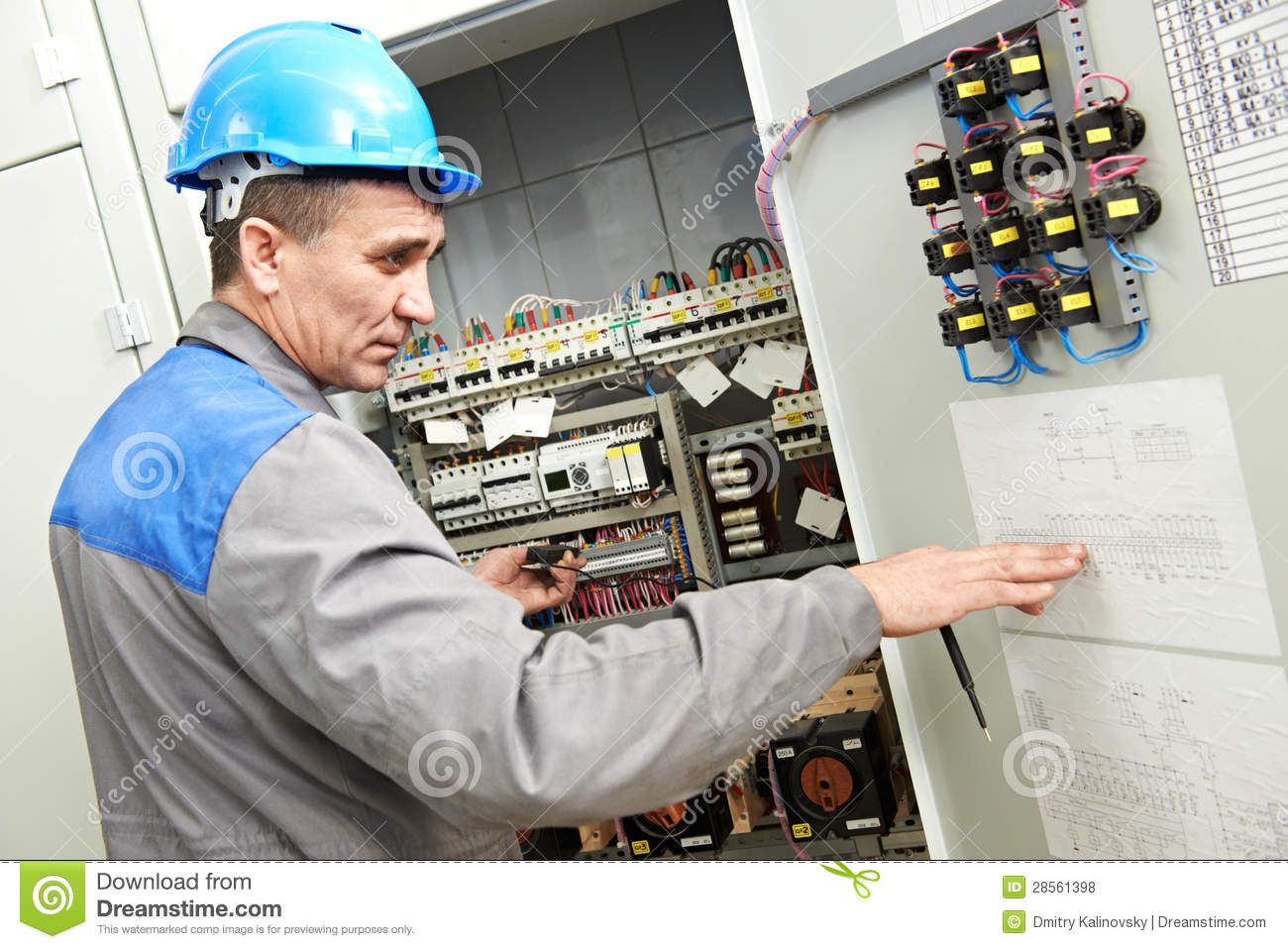 Electrician Working At Power Line Box Stock Photo Image