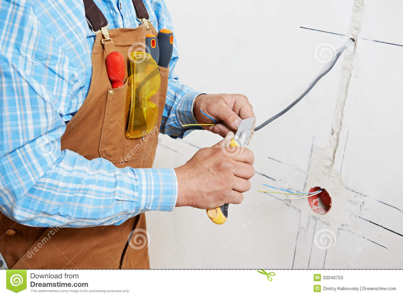 Electricians At Cable Wiring Work Stock Image Image Of