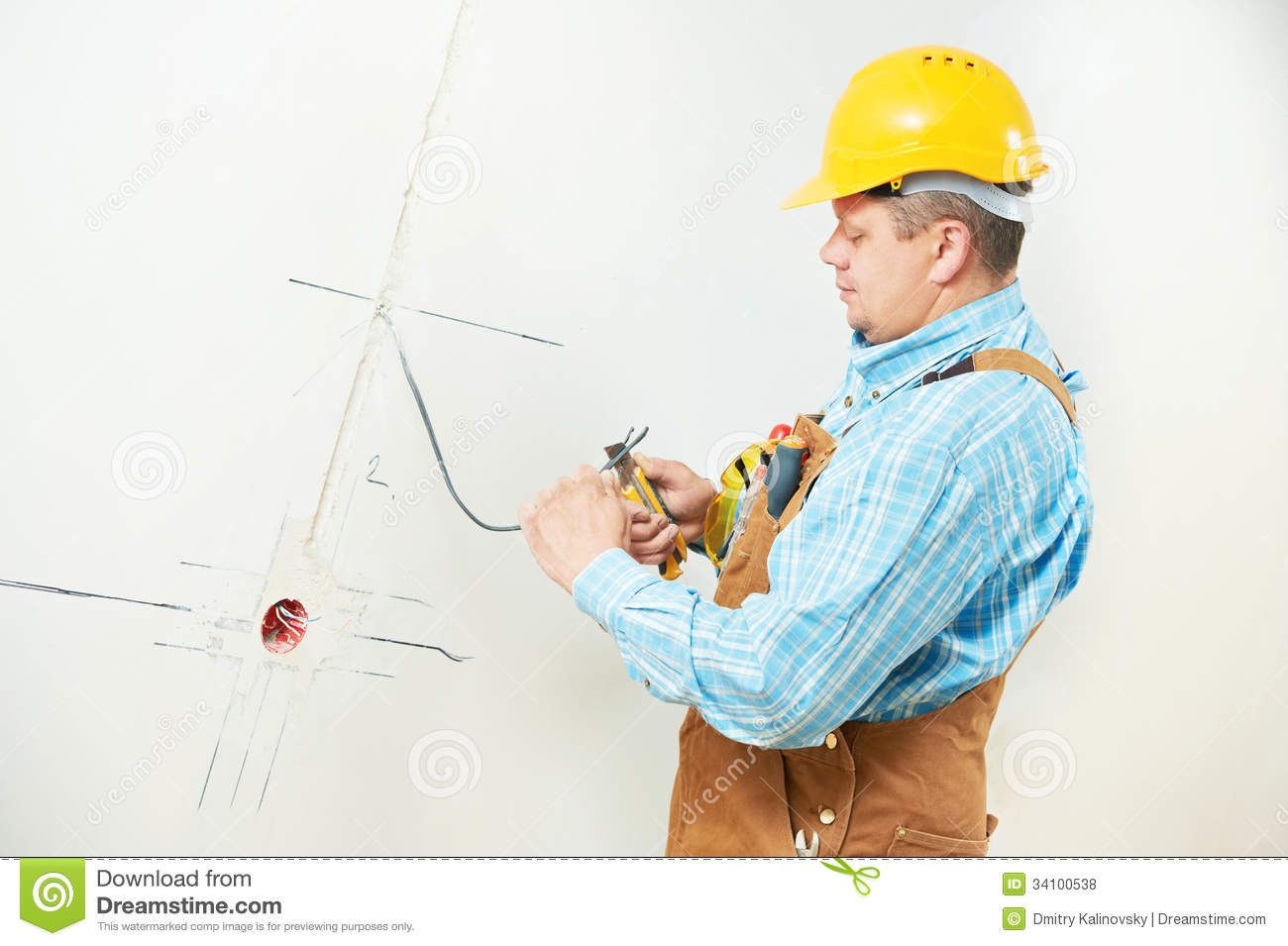 Electricians At Cable Wiring Work Stock Photo Image Of