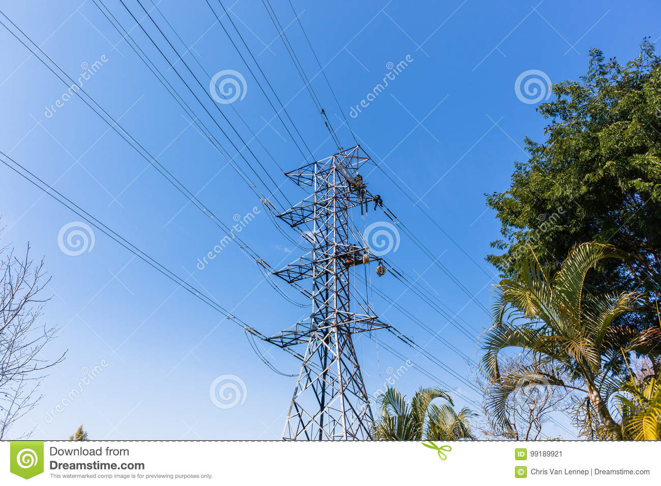 Electricity Power-Lines Maintenance Workers Stock Image - Image of on furniture towers, steam towers, coal towers, engineering towers, control towers, structural towers,