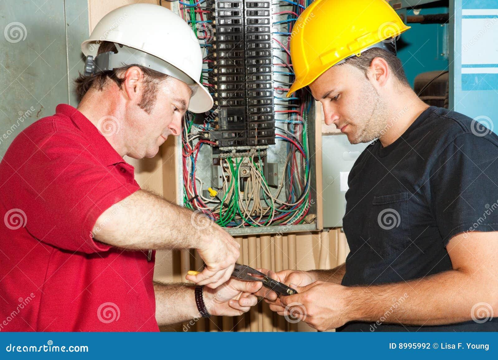 Electricians Repair Circuit Breaker Stock Photo Image Of Hardhat Download Maintenance 8995992