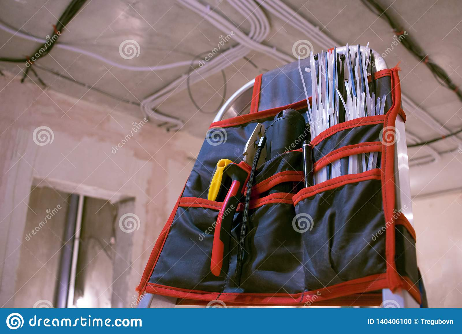 Electricians tool kit stock photo. Image of light, view ...