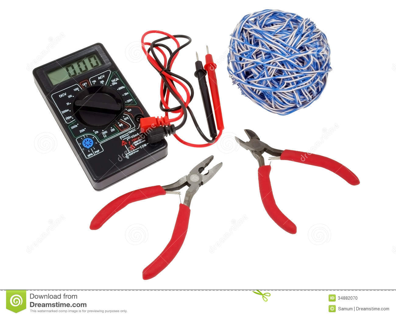 Electricians Tools Stock Photo Image Of Pliers Parts 34882070