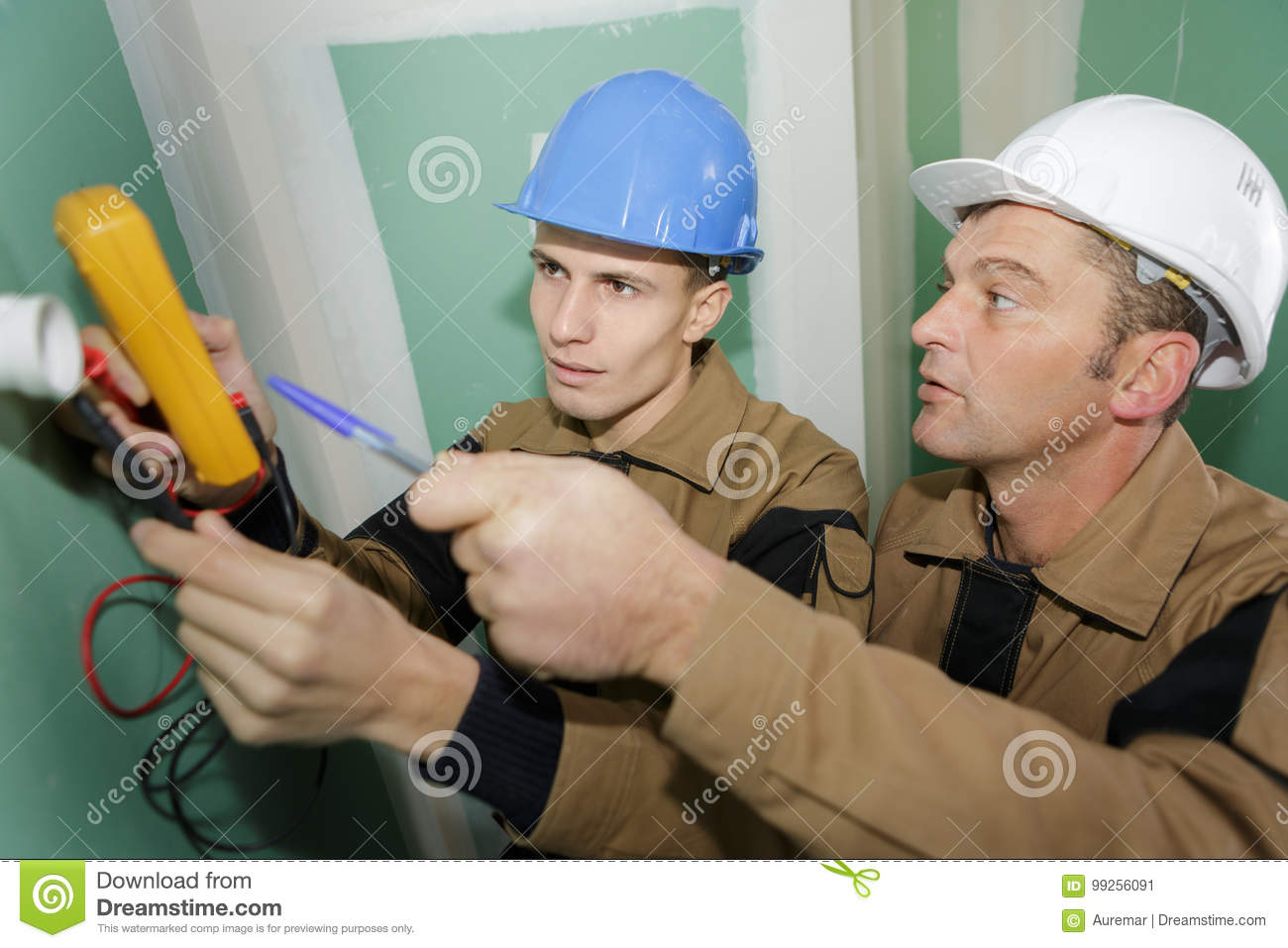Electricians Wiring New House Stock Image Of Test