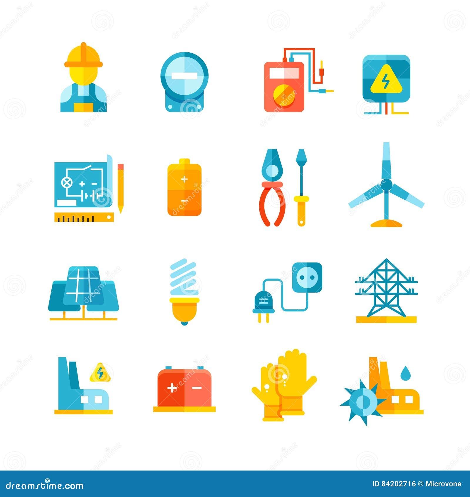 Electricidad, metro eléctrico, iconos planos del vector del equipo eléctrico