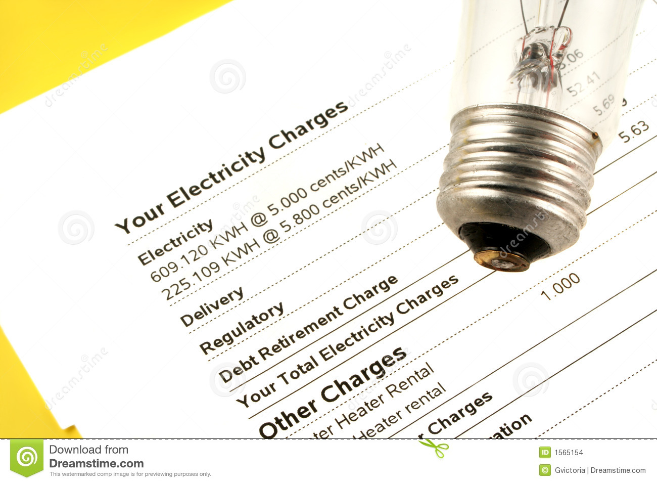 Electricity Bill Stock Images - Image: 1565154