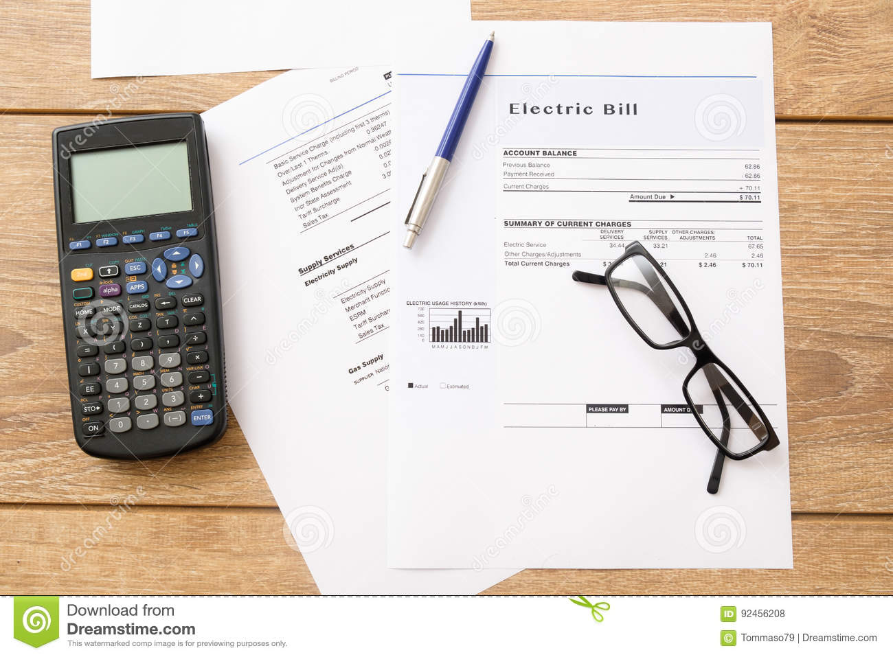Electricity bill charges paper form on a table