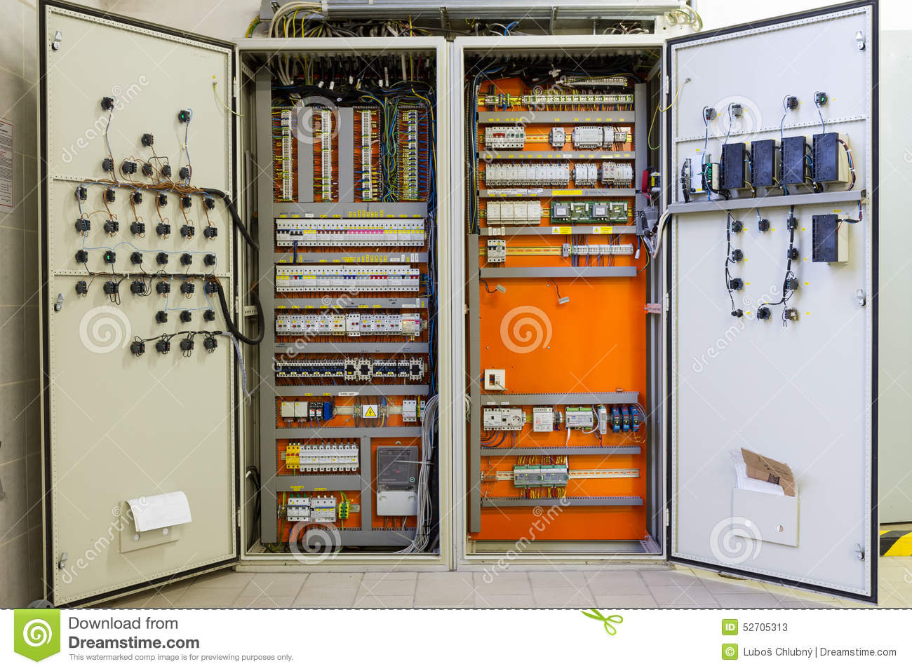 Download Electricity Distribution Box With Wires, Circuit Breakers And Fu  Stock Image - Image of