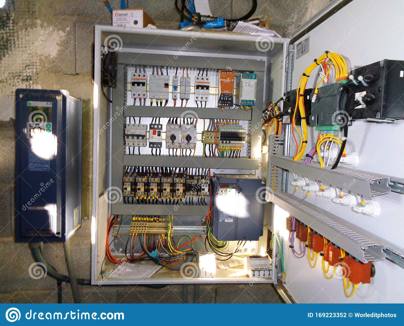 Electricity Distribution Box With Wires And Circuit Breakers Fuse Box Stock Photo Image Of Electric Circuit 169223352