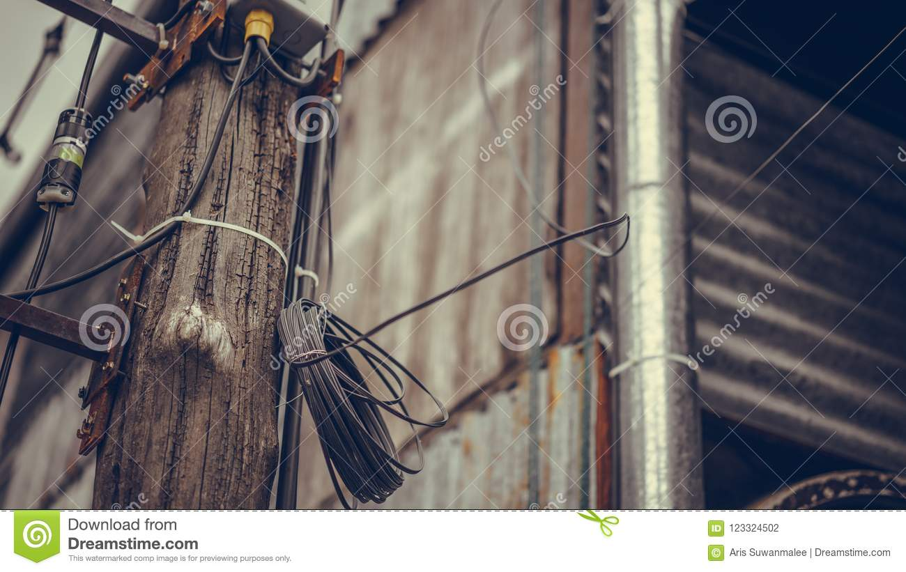 Electricity Distribution Wire On Wooden Pole