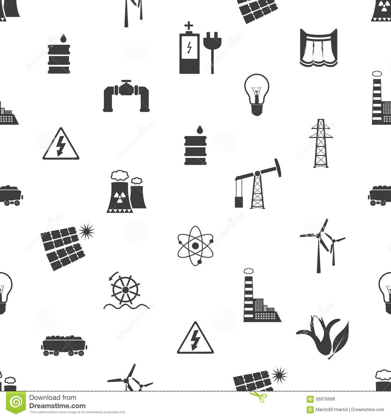 Electricity And Energy Icons And Symbol Seamless Pattern Eps10 Stock ...