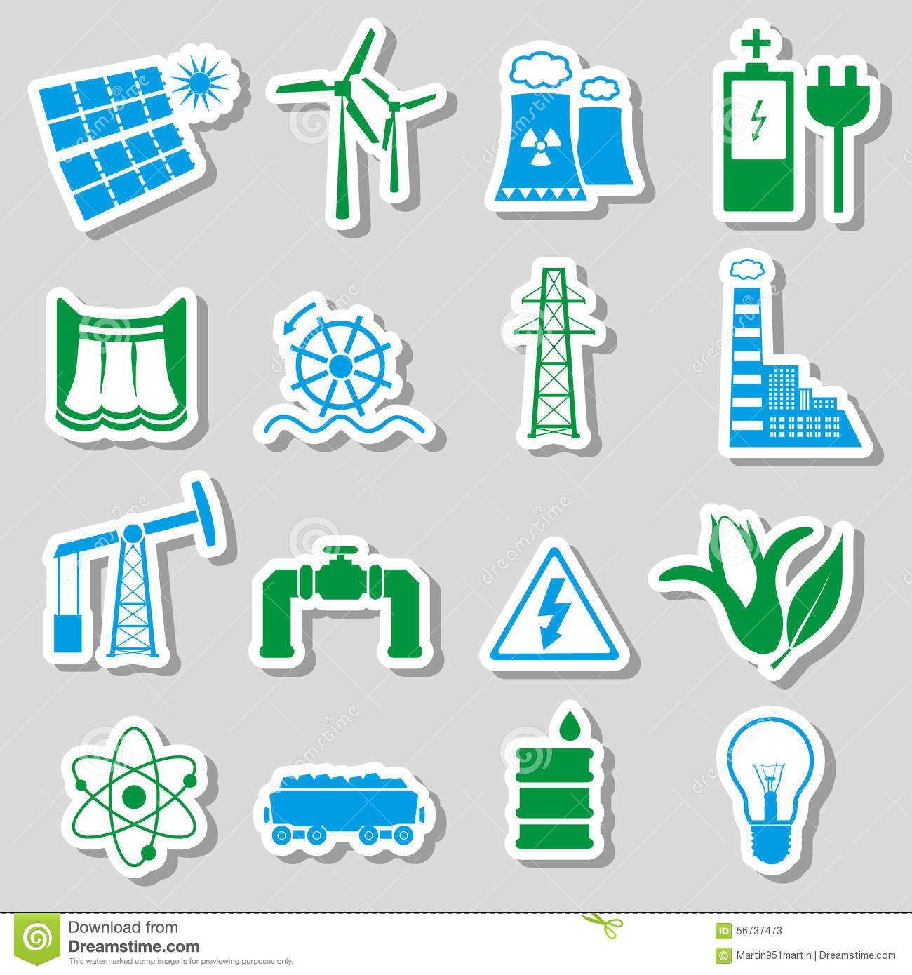 Electricity And Energy Symbol Color Stickers Set Eps10 Stock Vector ...