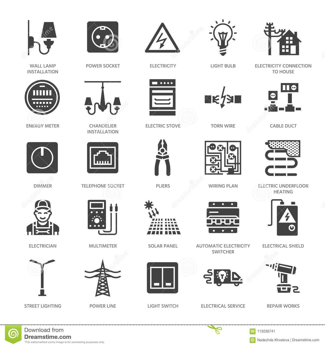 Electricity Engineering Vector Flat Glyph Icons Electrical Power Receptacle Wiring Equipment Socket Torn Wire