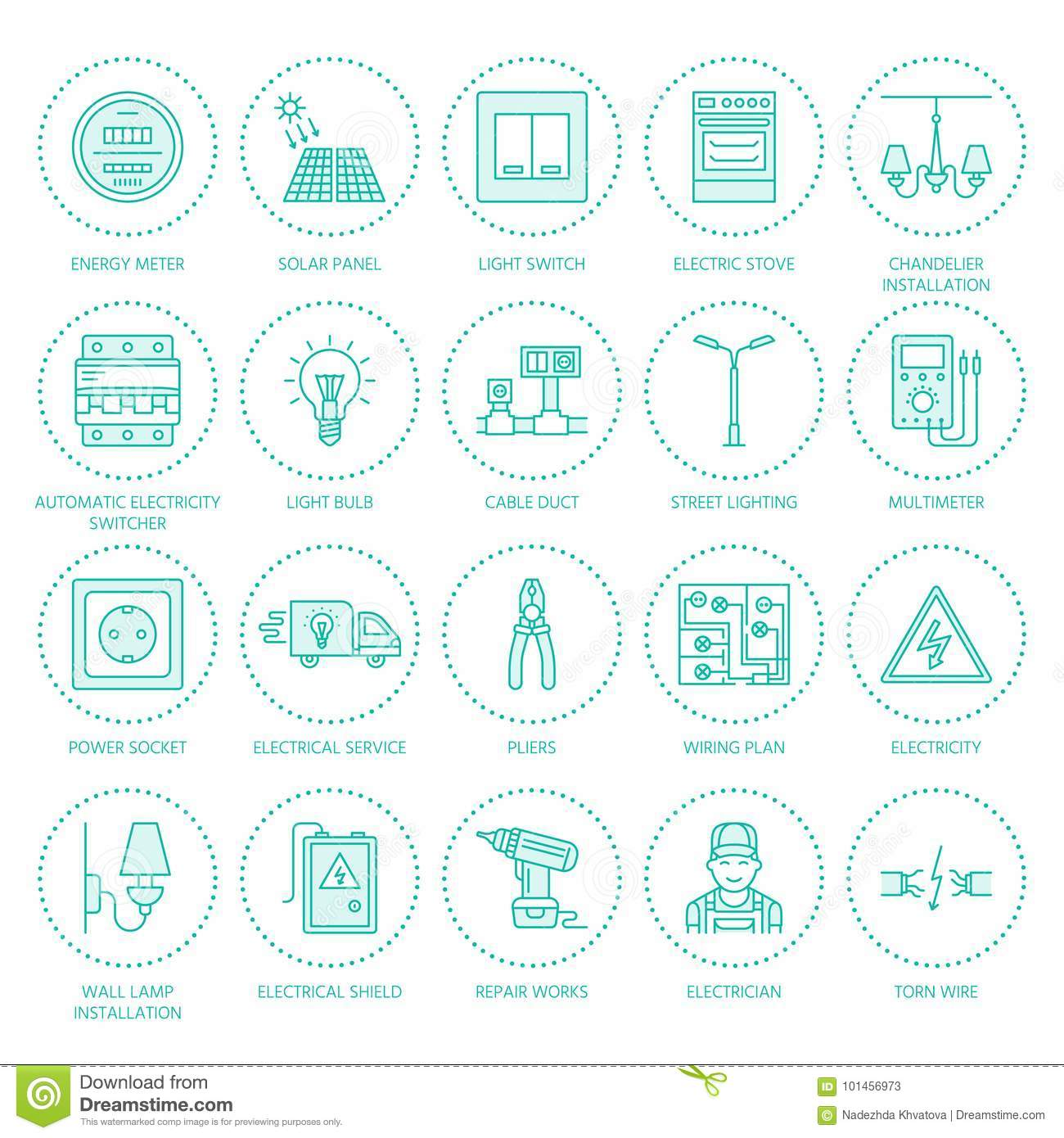 Fabulous Electricity Engineering Vector Flat Line Icons Electrical Equipment Wiring Digital Resources Indicompassionincorg