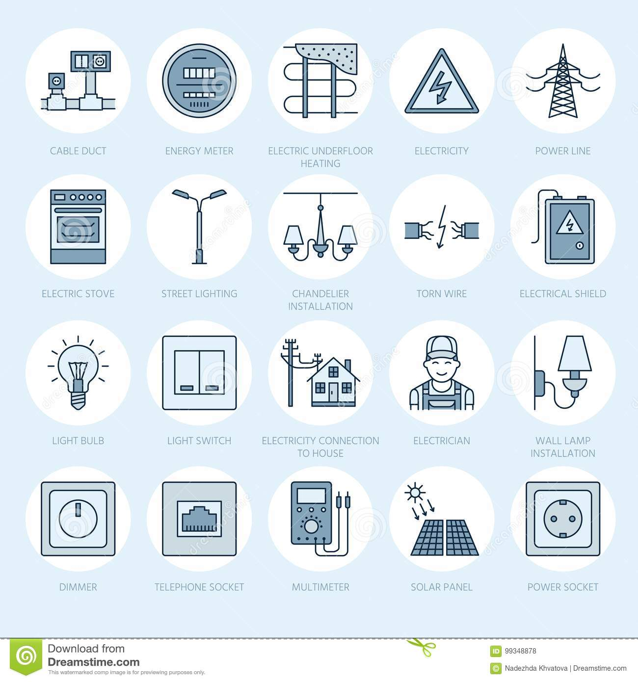 Electricity Engineering Vector Flat Line Icons Electrical Equipment Wiring A Meter Socket Power Torn Wire