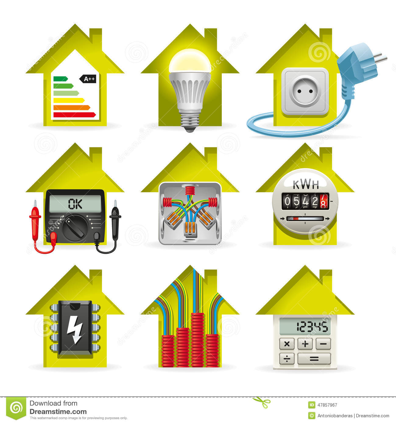 Electricity Home Icons stock vector. Illustration of tester - 47857967