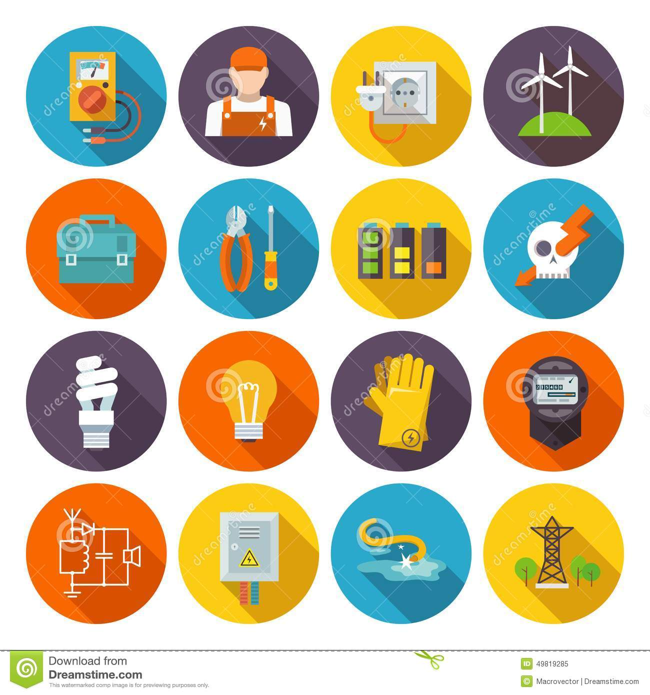 Electricity Icon Flat Stock Vector Image 49819285