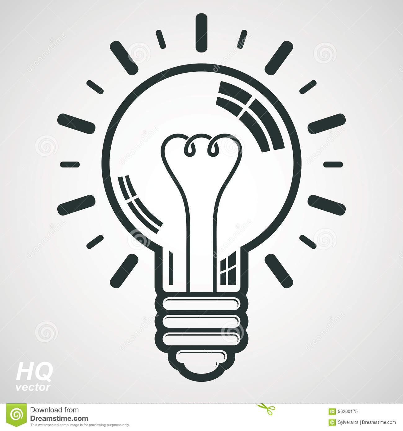 Electricity Light Bulb Symbol, Insight Emblem. Vector Brain Storm ...