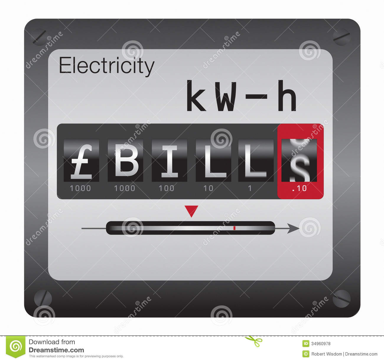 Electricity meter (GBP) stock illustration. Illustration of poverty ...