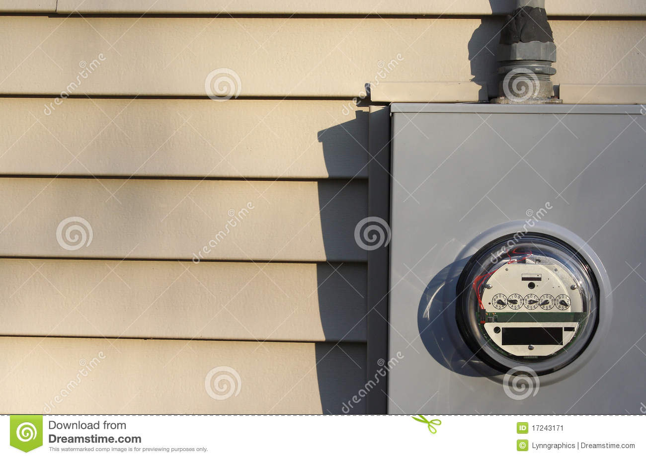 Electric Meter On House : Electricity meter on house stock image