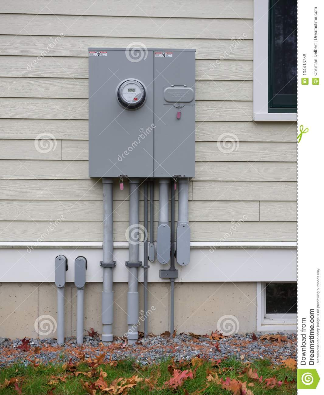 Outdoor Electrical Panel On New House Stock Photo - Image of company ...