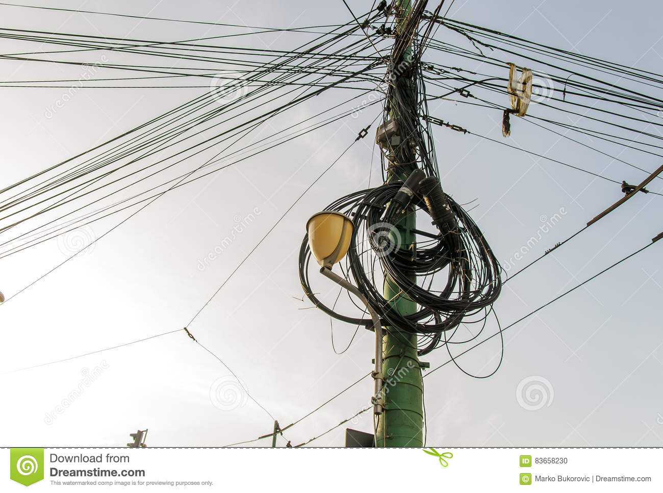 Street Light Electrical Wiring Block And Schematic Diagrams Diy Electricity Pole Complicated On The Rh Dreamstime Com Lights For