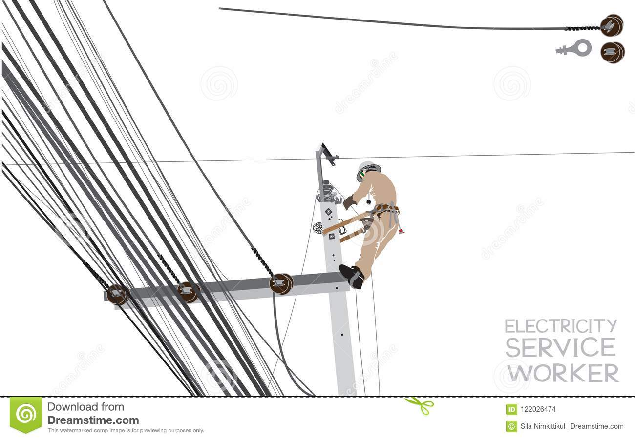 Electricity Pole Worker Cartoon Infographic Stock Vector