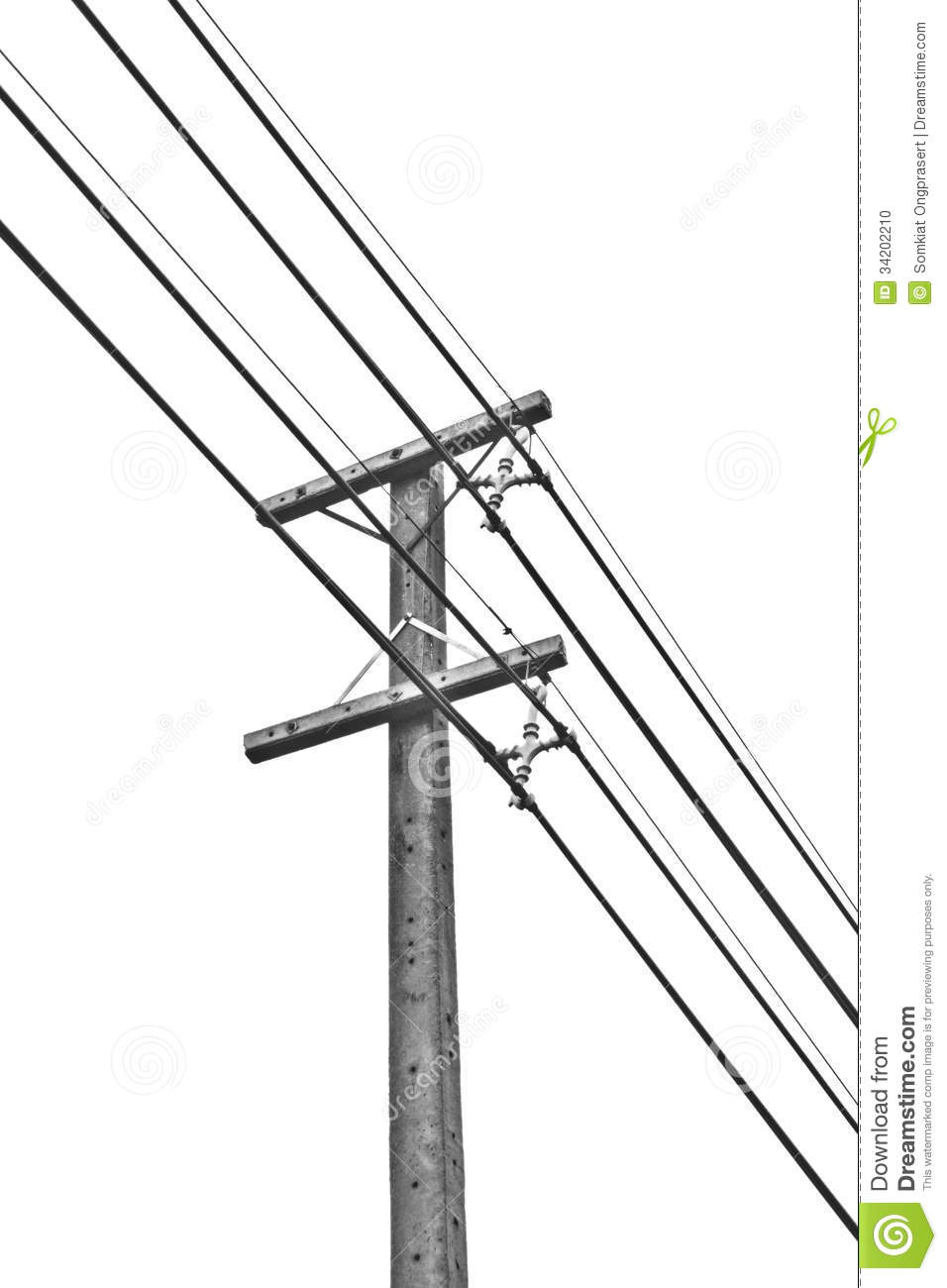 Electricity Post Andtelephone Poll Stock Photo - Image ...