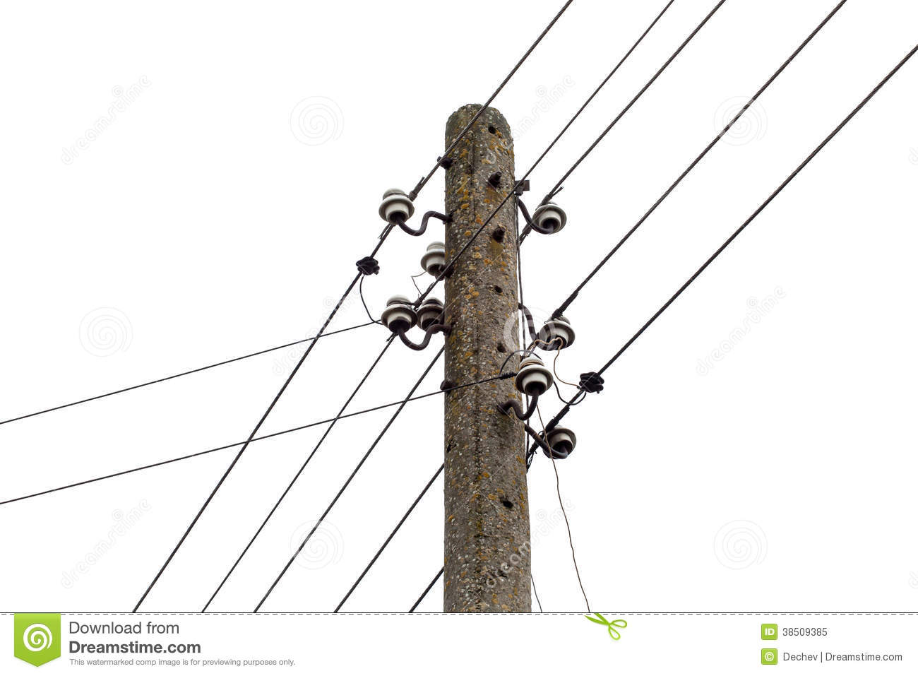 Electricity Post With Wire Lines. Power Electric Distribution Stock ...