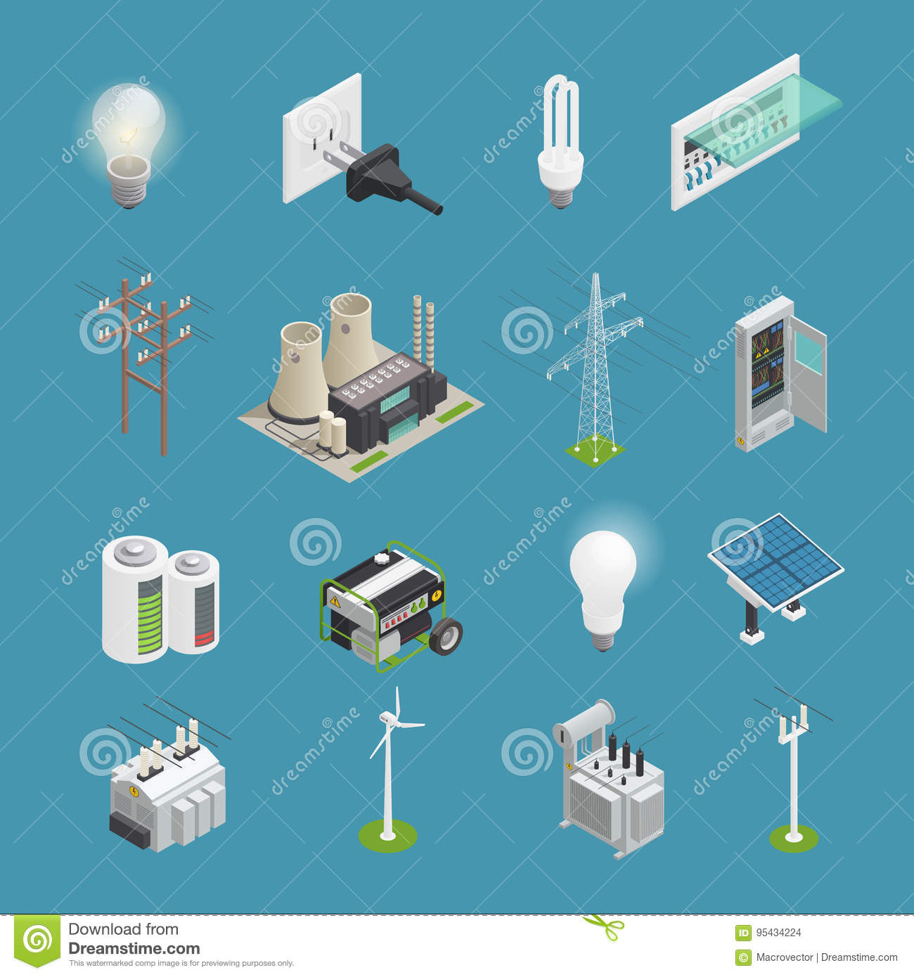 Electricity Power Icons Isometric Collection