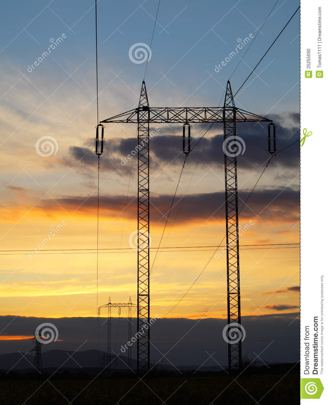 Electricity pylon sunset - power energy