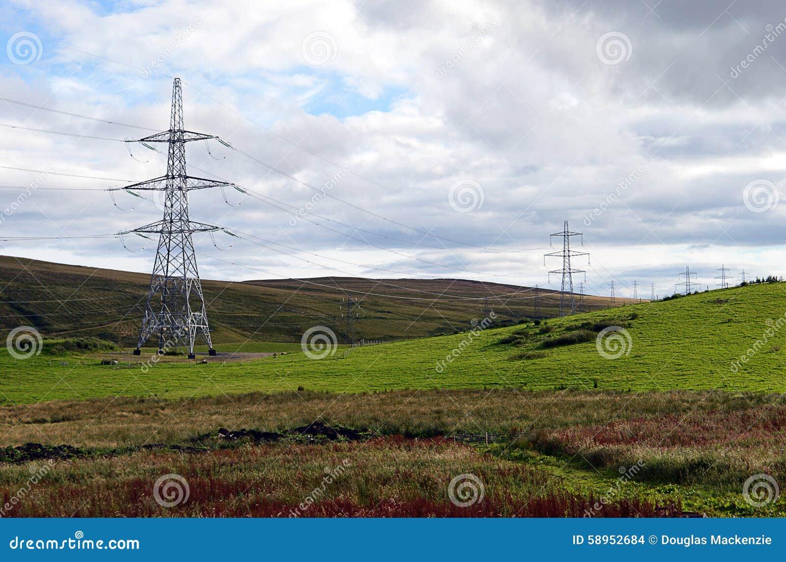 Electricity Pylons In Scottish Beauty Spot Stock Photo ...