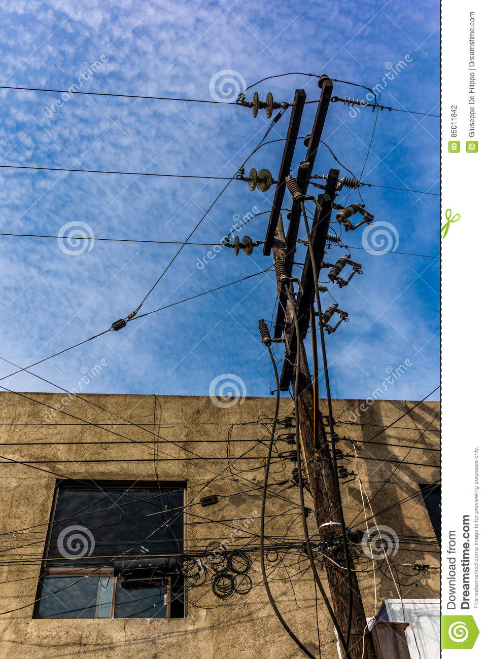 Electricity And Telephone Wires In Mexico Stock Photo Image Of Connection Wiring