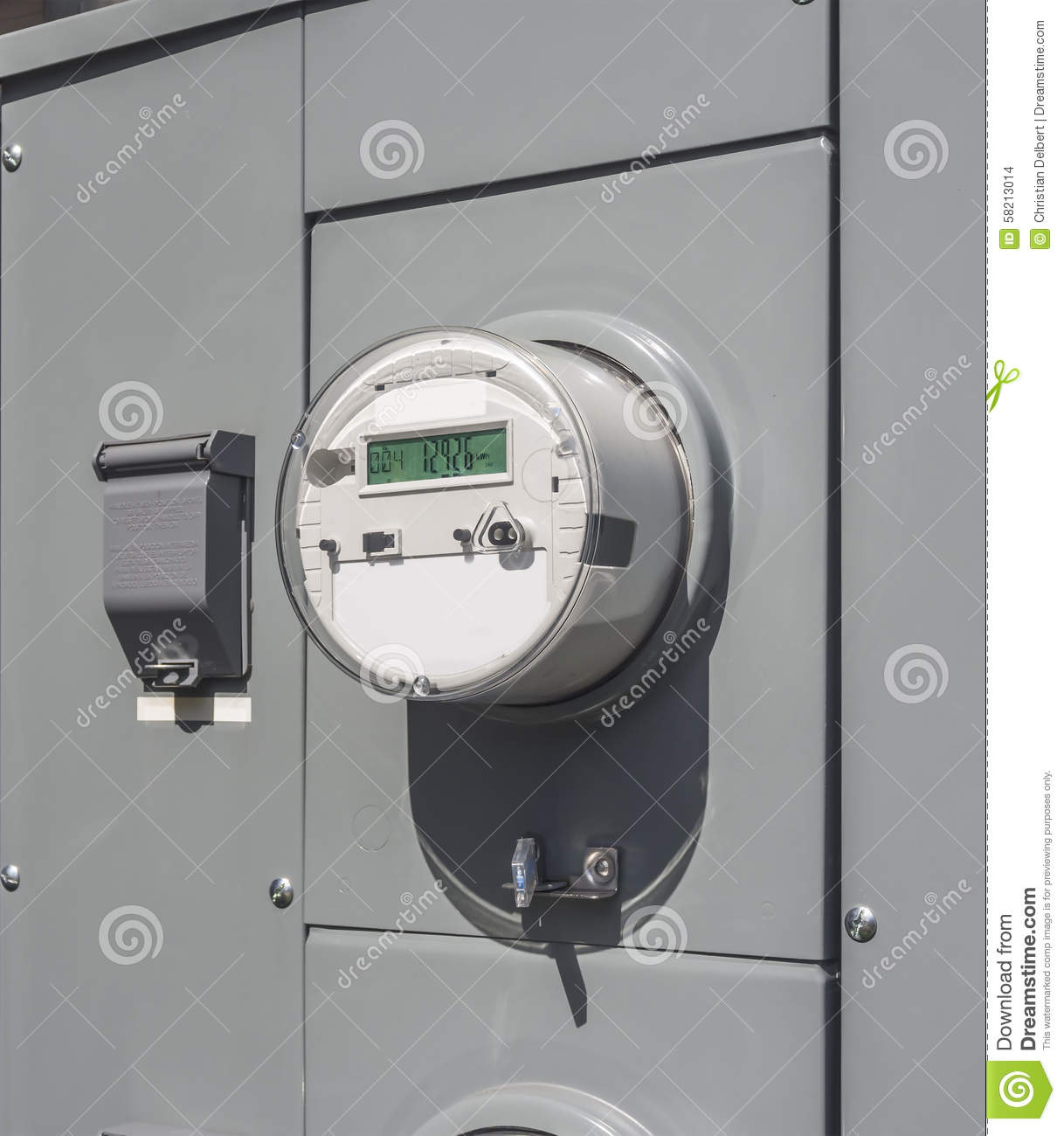 Commercial Electric Volt Meters : Electricity usage meter stock photo image