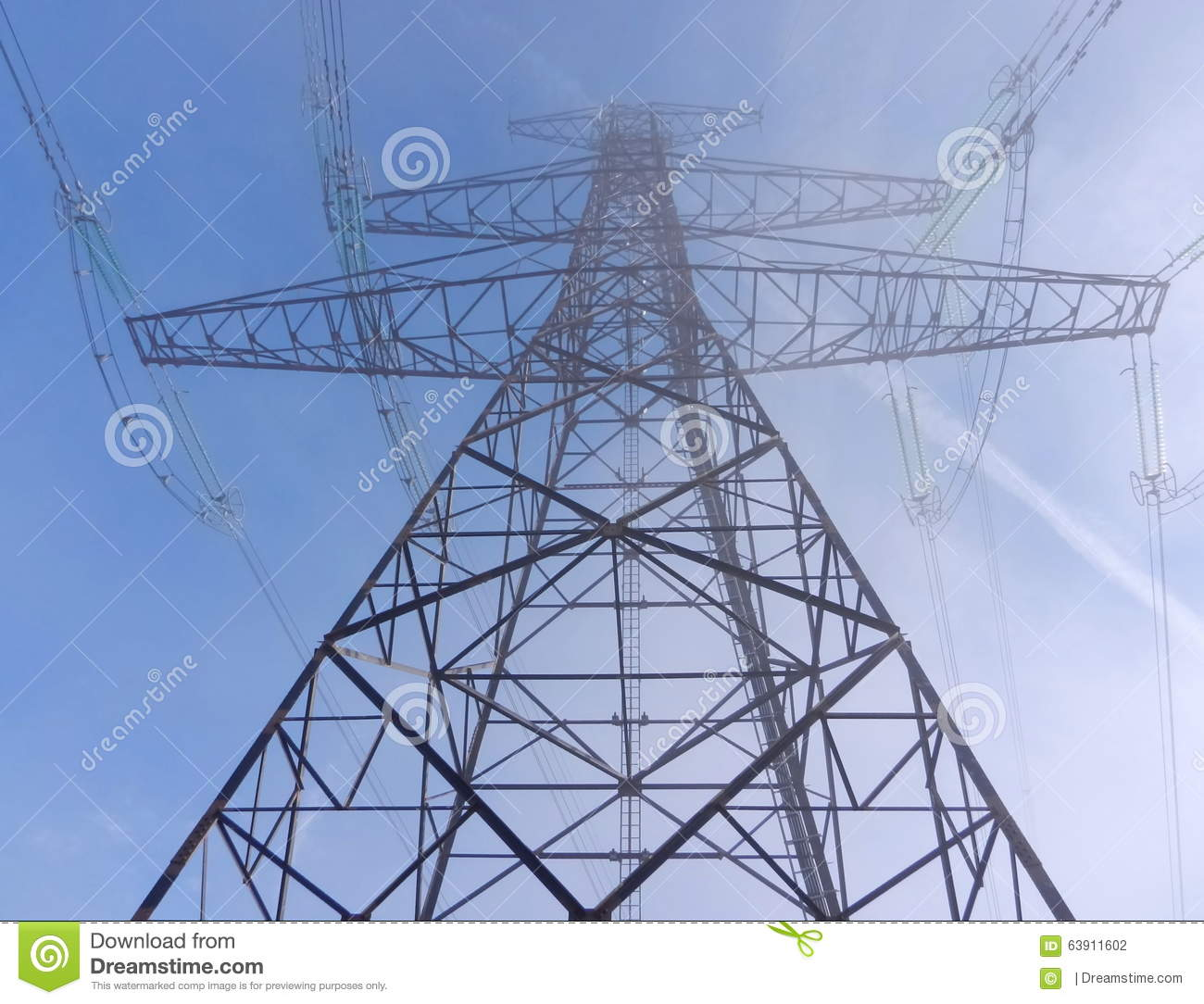 Electricity Wire Tower In A Morning Mist Stock Photo - Image: 63911602