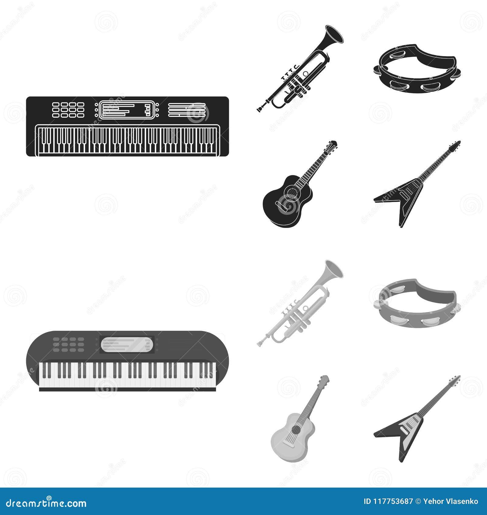 Electro organ, trąbka, tambourine, smyczkowa gitara Instrument muzyczny ustawiać inkasowe ikony w czarnym, monochromu styl