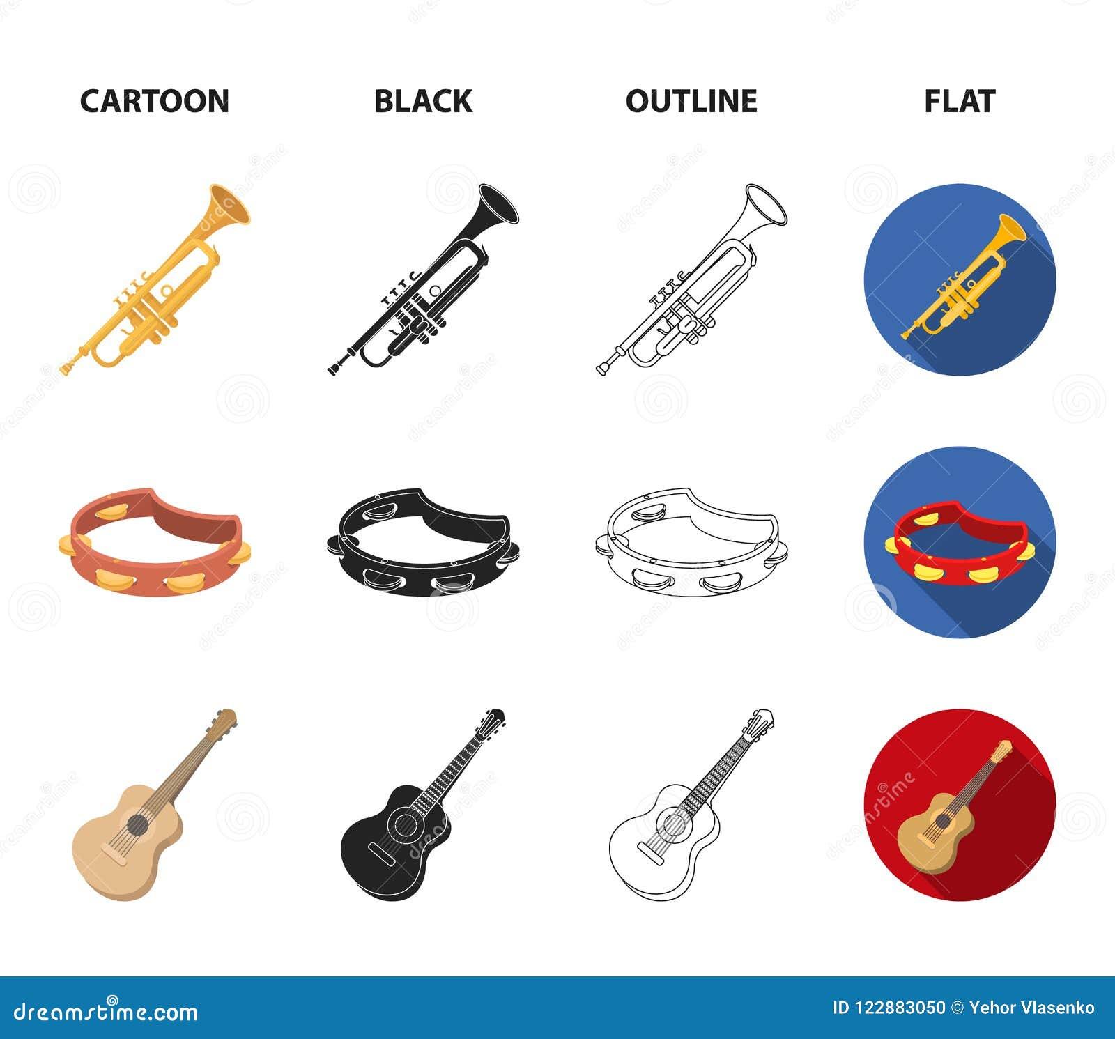 Electro organ, trąbka, tambourine, smyczkowa gitara Instrument muzyczny ustawiać inkasowe ikony w kreskówce, czerń, kontur