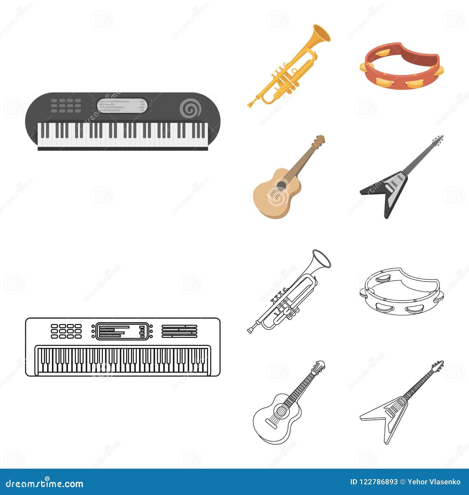 Electro organ, trąbka, tambourine, smyczkowa gitara Instrument muzyczny ustawiać inkasowe ikony w kreskówce, konturu styl