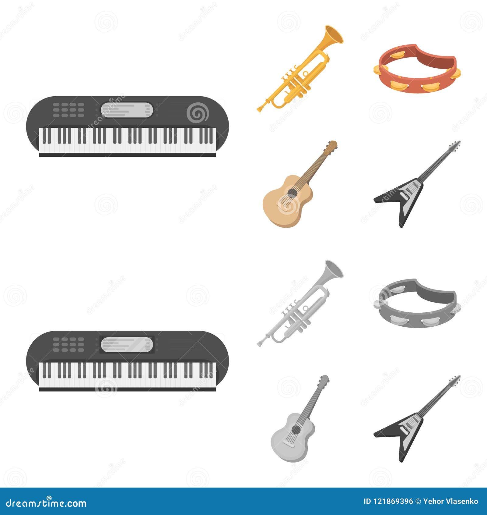 Electro organ, trumpet, tamburin, radgitarr Musikinstrument ställde in samlingssymboler i tecknade filmen, monokrom stil