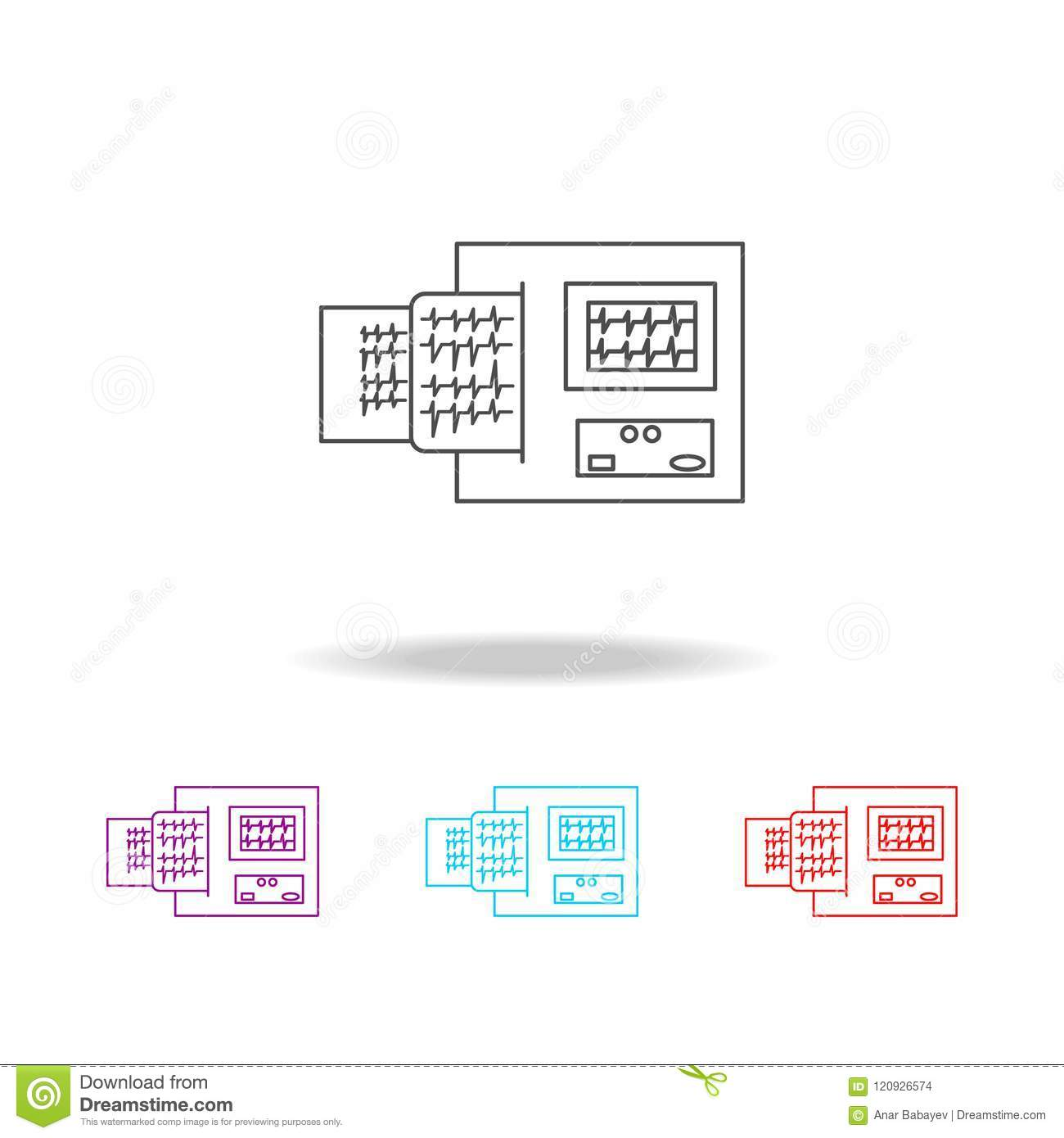 electrocardiogram device and heart pulse on list line icon elements Diagram of Pulses in the Body electrocardiogram device and heart pulse on list line icon elements of medical tools in multi