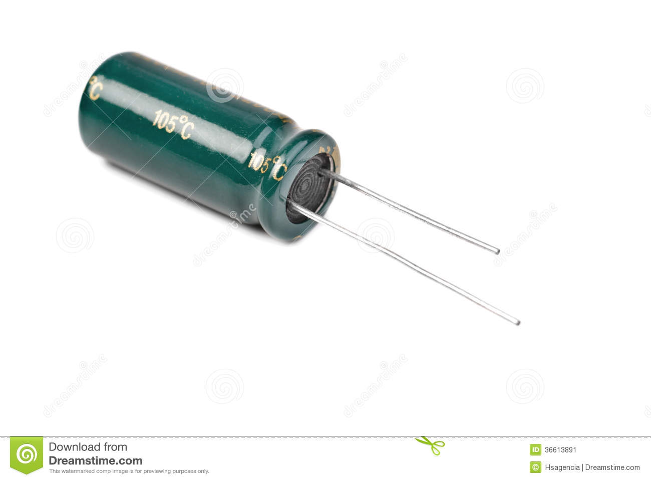 Electrolytic Capacitor in green