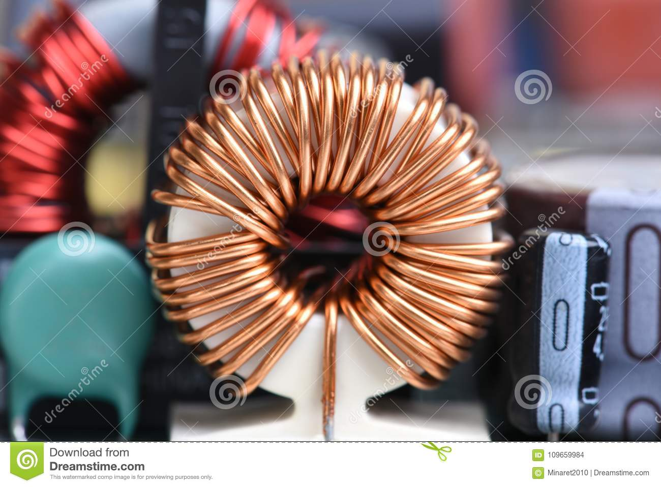 Electromagnetic Coil Inductor On Circuit Board Stock Photo Image Coils Of Copper Wire Are Commonly Used In Electrical Inductors